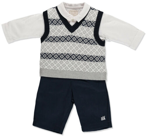 Baby Boy Navy 3 Piece Tank Top And Trouser Set 3m 6m Emile et Rose