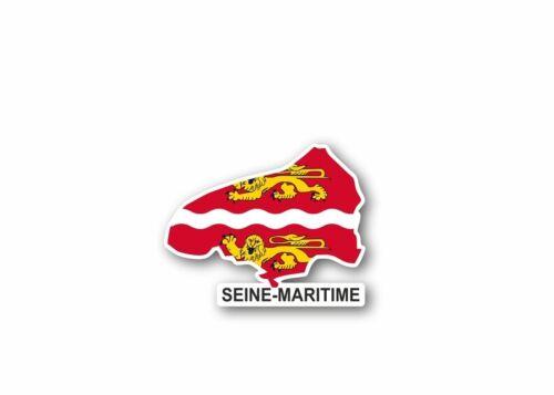 Autocollant sticker carte drapeau departement exterieur seine maritime