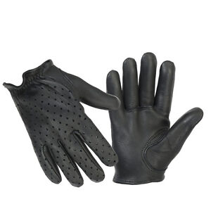Men-039-s-Black-Premium-Perforated-Leather-Police-Short-Tactical-Shooting-Gloves