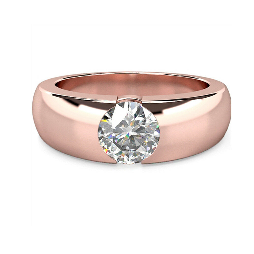1.00 Ct Round Bridal Diamond Engagement Ring 14K Solid pink gold Size 5 078