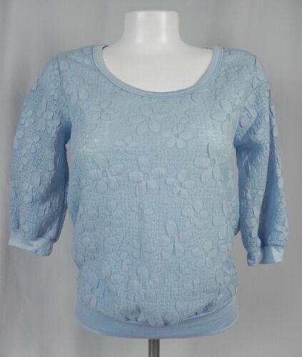 NEW Deb Blue Floral Knit 3//4 Sleeve Blouson Blouse D1-11