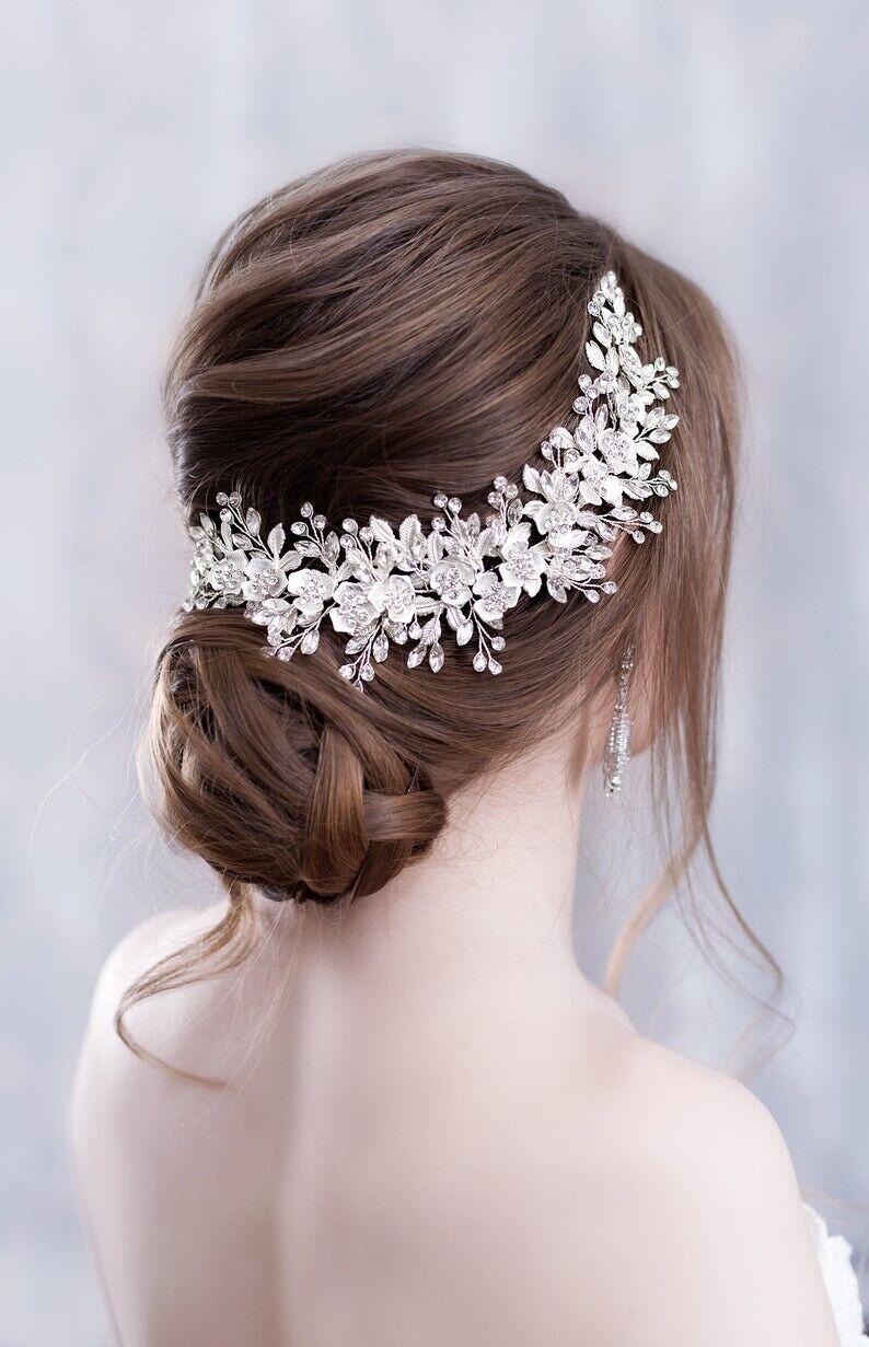 Bridal Bridesmaid Wedding White Vintage Hair Vine Tiara Crystals Flower Leaf