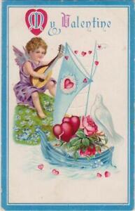 Valentine-Postcard-c-1910-Embossed-Boat-Dove-Roses-Hearts-Cupid-Plays-Mandolin