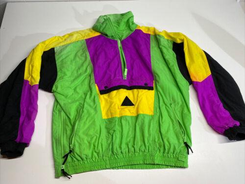 Vintage 80s Neon Colorful Bomber Zip Up Jacket Win
