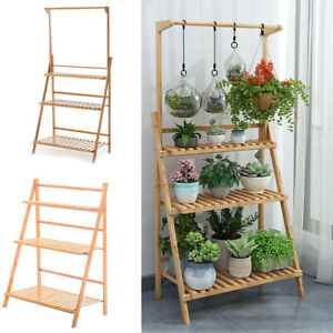 competitive price 79a9b f3f30 Details about 3 Tier Foldable Plant Stand Flowers Pot Holder Display Rack  Shelves Step Ladder
