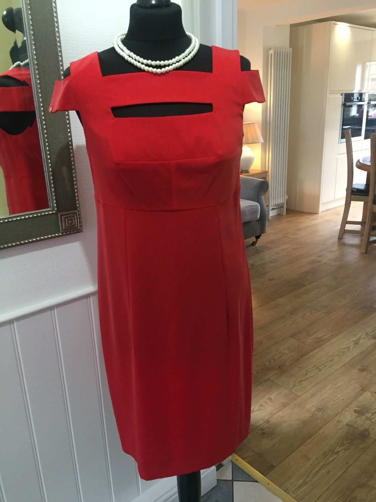 Oblique Creations Cold Shoulder Shift Dress, Dress, Dress, Poppy rot, Uk 10, New | Passend In Der Farbe  f08d32