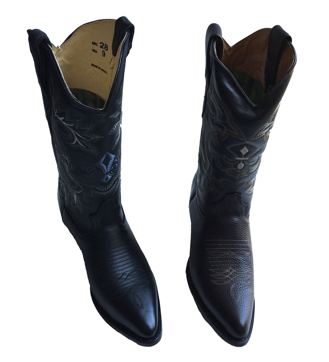 MEN'S GENUINE LEATHER WESTERN STYLE COWBOY SLIP ON BOOTS Style  0108