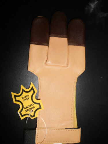 ARCHERS LEATHER SHOOTING 3 FINGERS GLOVE BEIGE// TAN COLOR-Hunting Archery Gloves