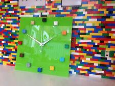 Reloj De Pared HANDMADE monkistuff diseñado Brillo Verde Lima, hizo uso de ladrillos Lego ®
