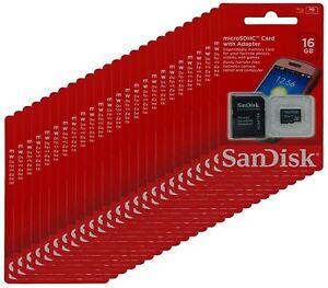 SANDISK-16GB-MicroSD-SD-SDHC-TF-Flash-Memory-Mobile-Smartphone-W-Adapter-Lot-25