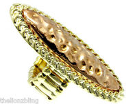Urban Hip Hop Hammered Gold & Copper Stretch Bling Ring Knuckle Shield