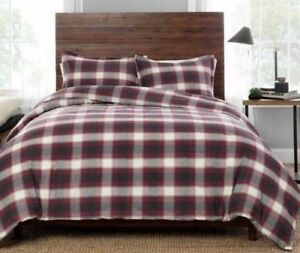 NEW-PENDLETON-FULL-QUEEN-SIZE-COMFORTER-amp-2-SHAMS-SET-FERN-RIDGE-Red-Gray-Plaid