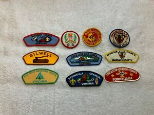 Lot-of-10-Vtg-Boy-Scout-Patches-Samoa-Mohegan-Jubilee-77-Santa-Lucia-Gilwell-etc