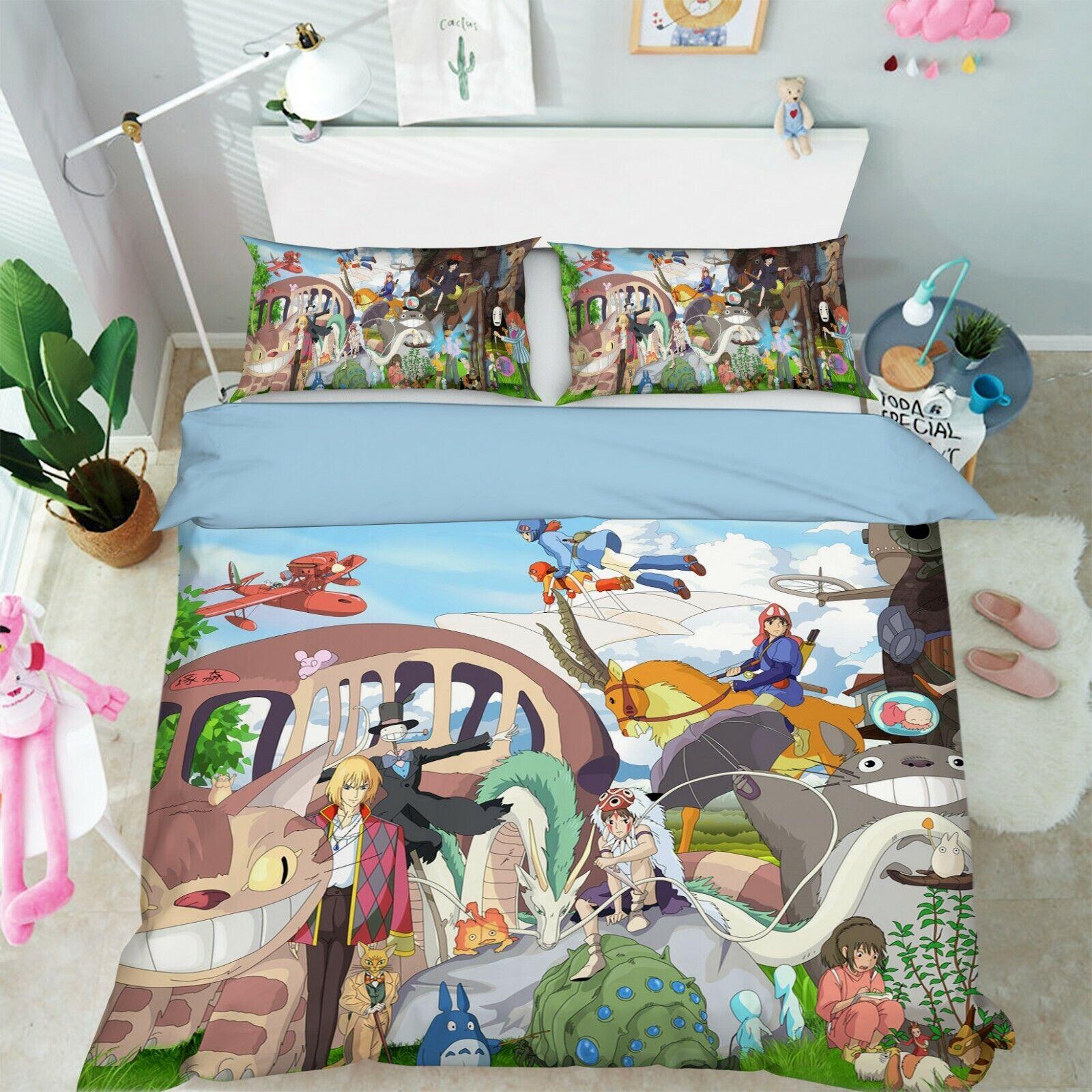 3D Spirited Away 2 Japan Anime Bed Pillowcases Quilt Duvet Cover Single Set