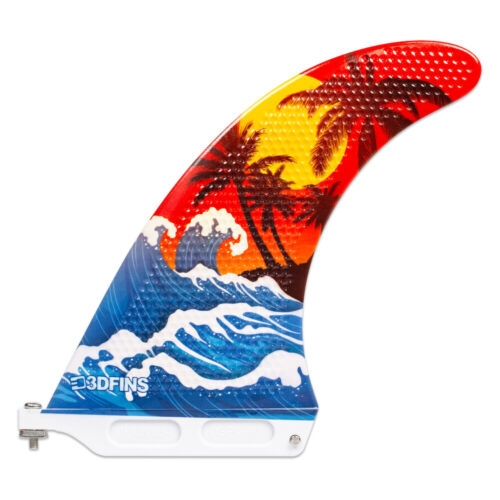 """7/"""" Longboard surf New 3DFins Single Fin Surfboard fin Troppo"""