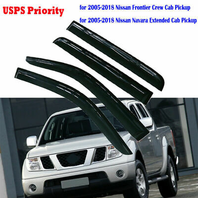 For 2005-2016 Nissan Frontier SMOKED WINDOW VISOR SUN WIND DEFLECTOR RAIN SHADE