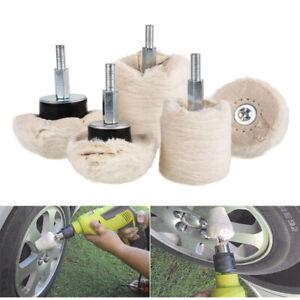 5Pcs Car Polishing Sets Buffing Pads Wheel Waxing Buffer Drill Adapter Tools US