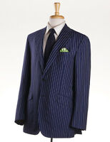 $4495 Oxxford Navy Blue Stripe Lightweight Silk-linen Suit Slim 40 R