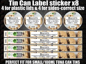 Details about Biscotti PRESSITIN tin can Labels Sticker CALI RX Medical  100ml