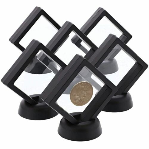 12pcs Mini Floating Frame Display Holder Stand for Medallions Coin Badge Black