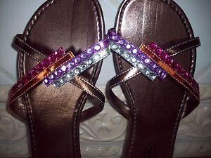 Ladies-039-Wedge-Beaded-Sandals-Flip-Flops-034-StarBay-034-Bronze
