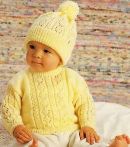 6c6759a6f61 Knitting Pattern Baby s for 4 Ply Lace   Cable Sweater and Hat 31-56 ...