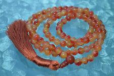 Knotted Genstone Kundalini Mala beads Orange Jade Prayer beads 108 Mala beads Yo