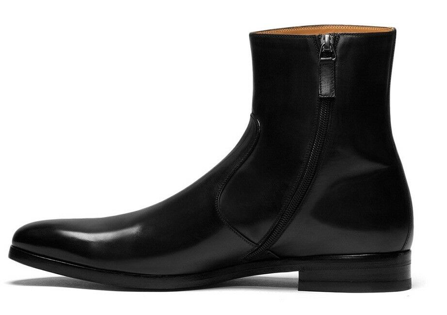 Handmade Men Leather Side Zipper Boots Mens Genuine Leather Dress Boot Mens shoes