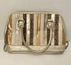 GIANI-BERNINI-Tan-Brown-Stripe-Leather-Textile-Handbag-Removable-Strap-Zip-Top