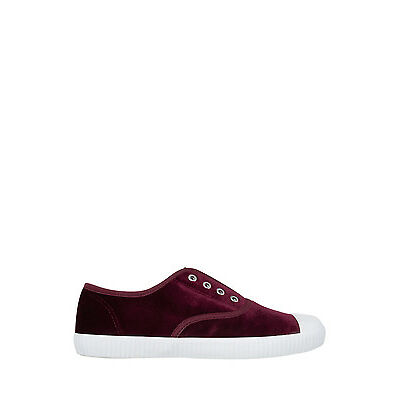NEW Miss Shop Olympia Bordeaux Velvet Sneaker Red