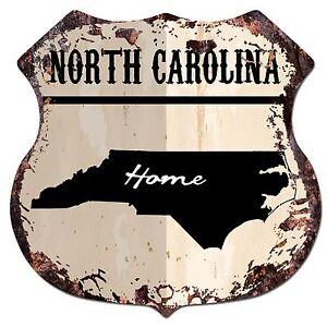 Bp0148 Home North Carolina Map Shield Rustic Chic Sign Bar Shop Home Decor Gift Ebay