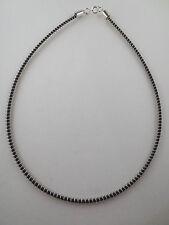 Silvertone Coil/Black Rubber Choker Necklace