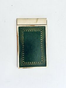 Vintage-Brass-Rectangular-Clam-Shell-Opening-Note-Pad-W-Original-Paper