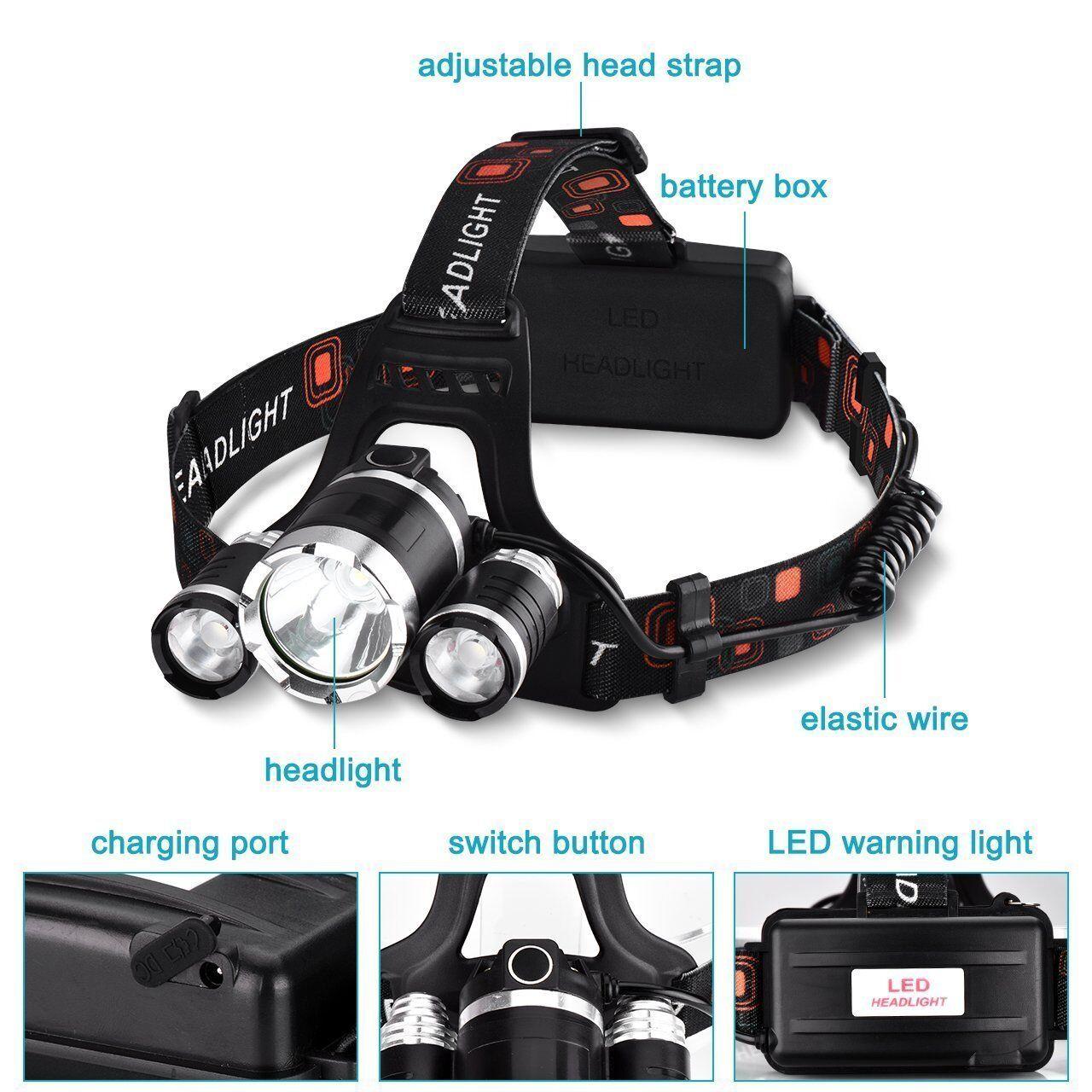 Linterna Frontal LED Para Camping Pesca Ciclismo 4 Tipos de Luz 6 Horas Duracion