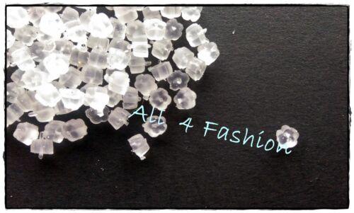 100 Gommini in Plastica a Fiore per Orecchini e Monachelle Argentato 4x4mm
