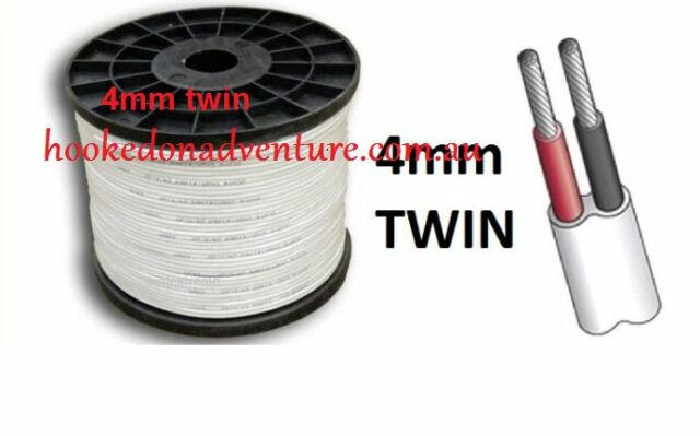 Cable 1M x 4mm MARINE GRADE TINNED 2-CORE TWIN WIRE / ELECTRICAL CABLE