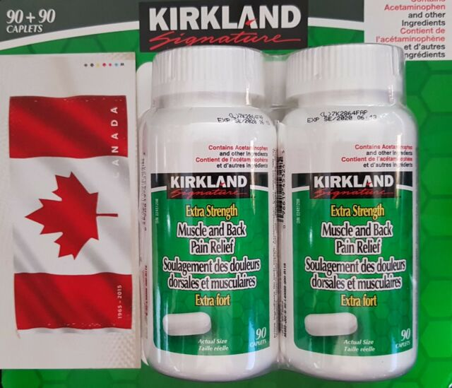 KIRKLAND EXTRA STRENGTH MUSCLE BACK PAIN RELIEF WITH ACETAMINOPHEN 180 CAPLETS