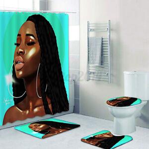 1//3//4Pcs African Non Slip Bath Mats Rugs Toilet Cover Mat Shower Curtain W// Hook