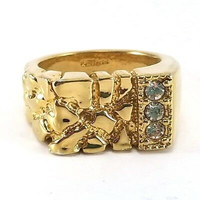 24KT Gold Plated Mens Nugget Ring-Sizes 7-16 Lifetime Warranty