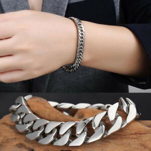 Men-039-s-Silver-Stainless-Steel-Chain-Link-Bracelet-Wristband-Bangle-Jewelry-Retro