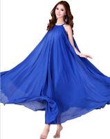 01 Women Chiffon Blue Long Maxi Formal Beach Evening Party dress Plus Size 28-30