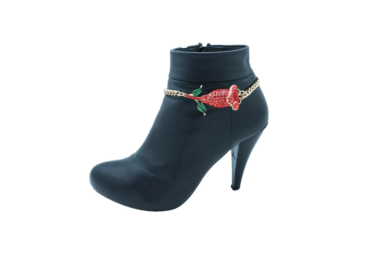 Women Gold Metal Chain Boot Bracelet Shoe Anklet Red Flower Charm Fancy Holidays