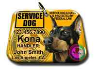 Service Dog Pet Photo Id Tag Custom Badge-tag Yellow Ada Personalized Ada Tag
