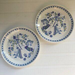 Norway-Lotte-Figgjo-Flint-Turi-Design-Lot-of-2-Bread-amp-Butter-Plates-Blue-Stamp