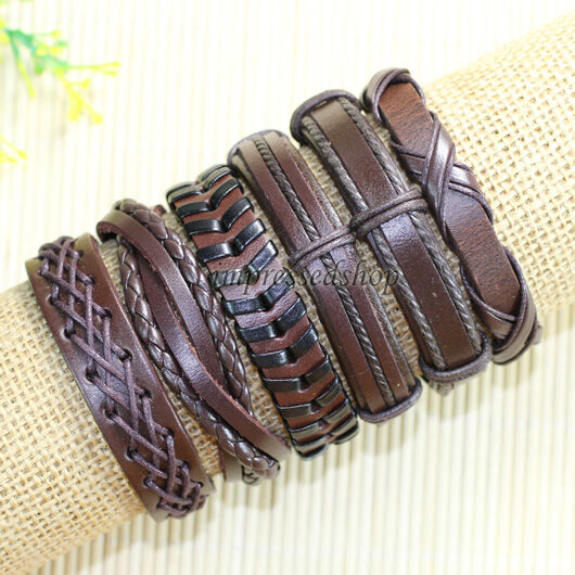 6pcs Wrap Hemp&Genuine leather bracelet for women, Men Bracelet, Bangles-D96