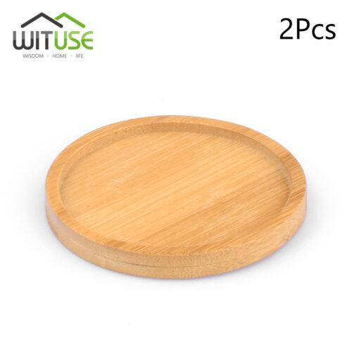 2pcs ceramic flower pots bamboo trays stand fern plant holder round saucer 7.1cm