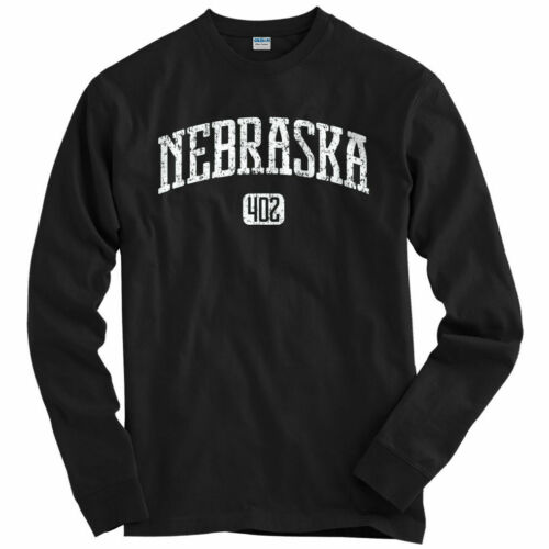 Youth Nebraska 402 Long Sleeve T-shirt LS Omaha Cornhuskers Bluejays Men