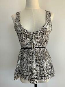 Tigerlily-Women-039-s-Black-White-Animal-Print-Spotted-Viscose-Top-8-A13