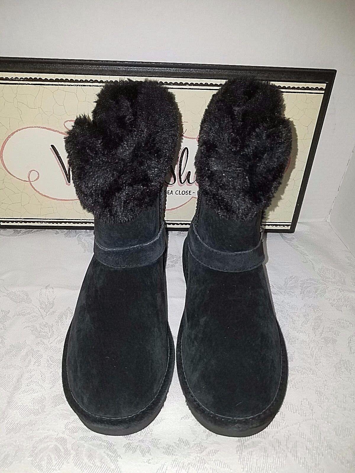 Lamo Suede Ankle Water Resistant Boots Faux Fur Cresson Black SIZE 6 Mediium