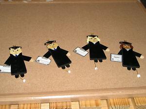 Christmas Graduates Girl OR Boy Jumping Jack Ornament VINTAGE Handmade
